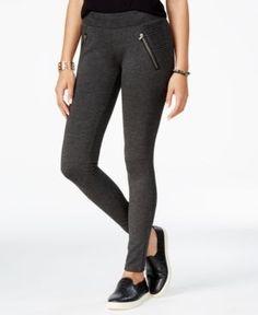 American Rag Ponte Zipper Leggings, Only at Macy's - Gray XS