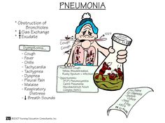nursingnerds:  Pneumonia: an accumulation of fluids secondary to the inflammation of tissue, which interferes with gas exchange.  Signs and Symptoms: fever, cough, chest pain, chest tightness, chills (upon auscultation of the chest, you will hear crackled breath sounds or diminished breath sounds at the bases). Diagnostics: chest x-ray, sputum culture, WBC, ABGs.  Drug Therapy: antibiotics, analgesics, steroids, antipyretics. Nursing Care: teaching about medication and O2 therapy is needed. Flui