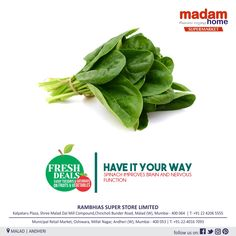 A balanced nutrition plan will nurture your body. Make sure you are getting enough fruit and vegetables everyday. Visit us to buy from #MadamHomeA family #Supermarket at #Malad & #Andheri #spinach #nutrition #realfood #eatclean #Vitamins #vitamina #vitamink #vitaminc #protein #fiber