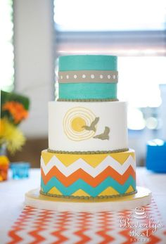 Such a Stephie cake!  Bird Print and Chevron Wedding Cake by Beverly's Best Bakery