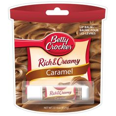 Caramel Frosting Lip Balm - This Betty Crocker Caramel Frosting Lip Balm will give you all the taste of frosting while it protects your lips – we dare you to try to avoid the temptation of licking your lips all day long. Betty Crocker, Chapstick Lip Balm, Best Lip Gloss, Caramel Frosting, Homemade Lip Balm, Nice Lips, Perfume, Lip Care, Artisanal
