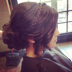 loose updo with braid for bridesmaids