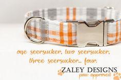 Seersucker Dog Collar in orange, gray & white via Etsy