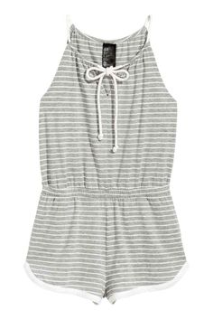 Combi-short en jersey - Gris/rayé - FEMME | H&M FR