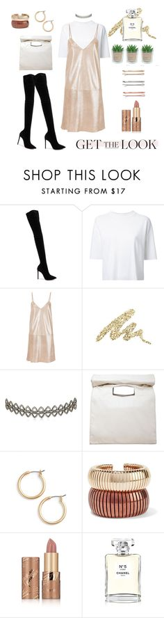 """""""Dazzling Champagne"""" by kaegil26 ❤ liked on Polyvore featuring Oscar Tiye, Lemaire, Manokhi, Urban Decay, Assya London, Limi Feu, Nordstrom, Rosantica, tarte and Chanel"""