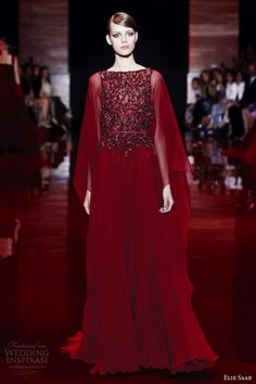 elie saab couture fall winter 2013 2014 long sleeve red ruby embellished bodice kaftan caftan