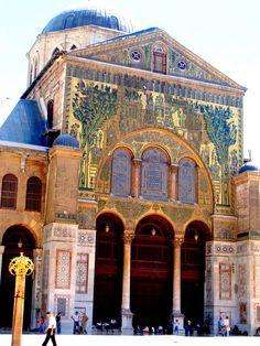 Umayyad Mosque - Damascus, Syria Gold brushed glass mosaics from the 700s AD
