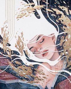 Hieu Nguyen, better known by his alias Kelogsloops, is an Australian watercolor artist. Kelogsloops also makes digital drawings. Illustration Mode, Illustrations, Watercolor Illustration, Art Inspo, Art Sketches, Art Drawings, Doodle Drawing, Doodle Art, Arte Pop