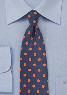 Herrenkrawatte grob tupfengemustert nachtblau orange