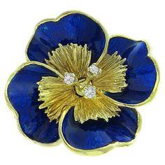 Tiffany Gold Floral Pin