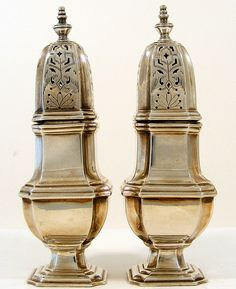 English Silver Plate Ellis Barker Salt & Pepper Shakers c1912