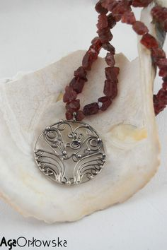 #necklace - firebird in Bali style. silver and garnet