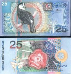 Suriname Paper Money, Beautiful Bird and Flower Note Euro Währung, Money Notes, Old Money, Thinking Day, World Coins, Fauna, Grafik Design, Art Projects