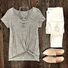IG @mrscasual  Gray twist front pre knotted tee, the best white skinny jeans, gray suede mule slide flats