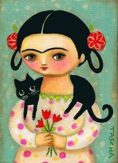 FRIDA KAHLO black cat original painting frida with by tascha Kahlo Paintings, Art Fantaisiste, Frida Art, Art Carte, Image Chat, Arte Popular, Mexican Folk Art, Whimsical Art, Cat Art