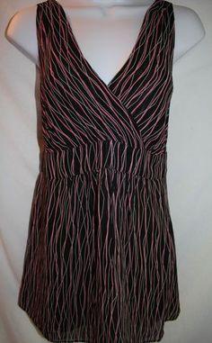 Great Summer Maternity Top! Sz L MIMI MATERNITY Black & Pink Babydoll Top Empire Waist Tie Back V-Neck $24.95 Free Shipping