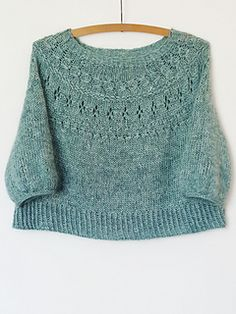 Ranunculus is a round yoke pullover with lace and textured stitches. Shawl Patterns, Sweater Knitting Patterns, Lace Knitting, Knitting Stitches, Knit Crochet, Crop Pullover, Quick Knits, Angora, Summer Knitting