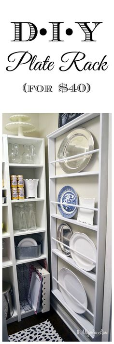 Easy DIY tutorial:  build your own custom plate rack to fit any wall in your kitchen. pantry, or dining room for under $40.