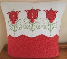 Sew this stunning Red Tulip Cushion with applique blooms in magnificent red onto white fabric for truly attractive appeal. Machine Embroidery Applique, Gold Embroidery, Custom Embroidery, Embroidery Services, Red Tulips, Patchwork Bags, Applique Designs, Cushions, Pillows