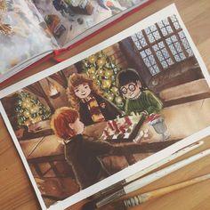 I don't know why, but Harry Potter is a Christmas movie for me#watercolor #wetpaint #harrypotter ************* Не знаю почему, но Гарри Поттер для меня рождественский фильм #акварель #акварельпосырому