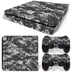 Skins4u® Sony Playstation 4 Slim Skin Camo Camouflage Design Premium Vinyl Schutzfolie Aufkleber inkl. 2 PS4 Controller Sticker Digital Camo