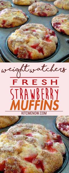 - Weight Watchers Friendly Recipes By MyTastyDish - Muffins Weight Watcher Desserts, Weight Watcher Muffins, Weight Watchers Diet, Weight Watcher Breakfast, Weight Watchers Cupcakes, Weight Watcher Cookies, Protein Muffins, Fresh Strawberry Recipes, Strawberry Muffins Healthy