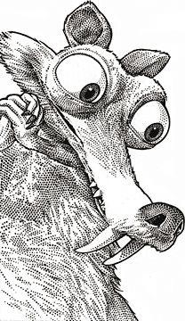 Wall Street Journal portrait (hedcut) of Scrat