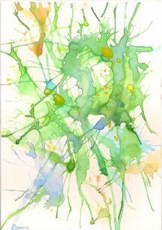La ladrona de Arte: Soplar gotas de pintura. Actividades acuarela para niños