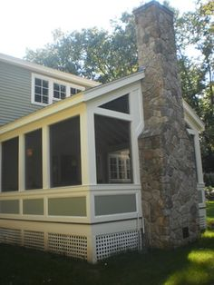 Screen Porch With Fireplace Design Ideas, Pictures, Remodel, and Decor - page 9