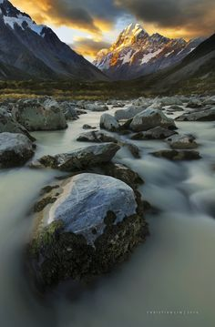 Miles Away - This is a multiple focus, perspective blend of Aoraki / Mt Cook, the highest peak of New Zealand taken along the Hooker River