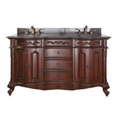 Avanity Bathroom Vanity PROVENCE-VS60-AC Provence w/ Imperial Brown Granite Counter Top and Double Sinks #KitchenCounterTopsCheap