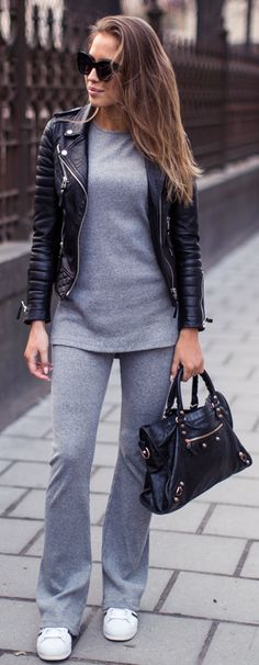 gray set + leather jacket