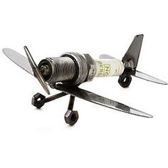 Spark Plug Plane Paperweight #recycled