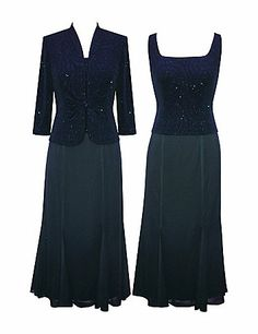 Sparkling 2 piece set features a long gown with sleeveless, sparkling bodice and matching long sleeve jacket.