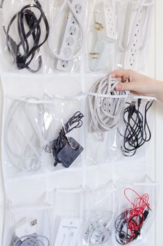 Maintain your collection of cords and chargers with a shoe organizer.