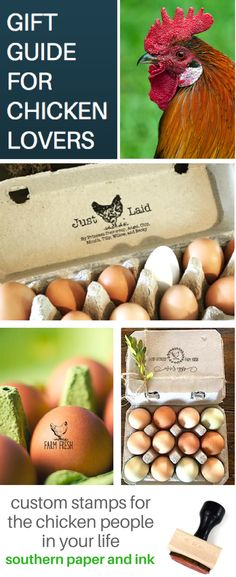Do you have a chicken lover on your gift list? Choose designs to stamp eggs, cartons, tags and signs. Shop Southern Paper and Ink. Free Shipping for a limited time. #chickens #chickengifts #giftguide #eggcartons #chickenlovers #chickenkeepers #personalizedgifts #backyardchickens