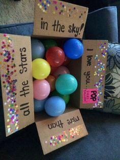 Long distance relationship - fun package idea. Each balloon has a message inside with something I love about him.
