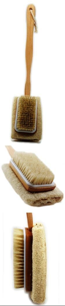 Spa Collection Long Handle Natural Sisal Bristle Brush & Loofah Body Back Brush High quality natural Sisal brush & Loofah on long wooden handle, easy to hang. Gently exfoliate skin for a smooth finish. Stimulate blood circulation. Enjoy a refreshing and stimulating bath or shower massage.  #Spa_Collection #Beauty