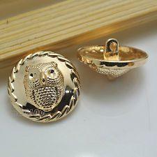 Uusi muoti 12kpl Gold Owl Veisto Round Metal Shank Napit 15mm / 24L 23mm