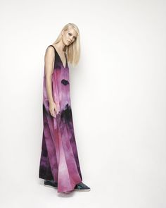 House Of Cannon - Launching Los Angeles - SS17/18 V Neck Maxi in Pink Haze print
