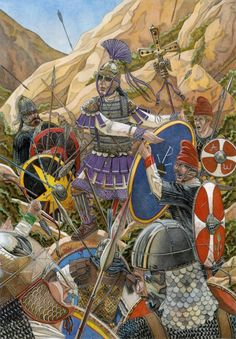 Death of King Teia,the last King of the Ostrogoths,killed by the Roman army at the battle of Mons Lactarius in After Ostrogothic . Death of King Teia Medieval World, Medieval Knight, Medieval Armor, Byzantine Army, Empire Romain, Early Middle Ages, Roman Soldiers, Roman History, Dark Ages