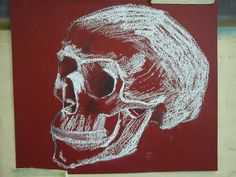 Skull, chalk, drawing