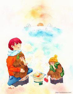 """『冬の焼き餅』北原 千 """"Rice Cake in Winter"""" By Sen Kitahara, 水彩, art, watercolor"""