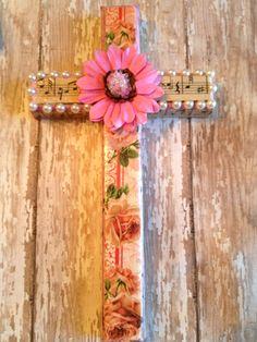Bible Cross Handmade Floral Cross Decoupage by EarthWindAndMire, $14.95