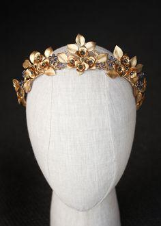 ROMAN Golden wedding crown 4 Headpiece Wedding, Wedding Veils, Bridal Headpieces, Wedding Crowns, Bridal Crown, Bridal Tiara, Sophisticated Hairstyles, Something Blue Bridal, Drop Veil
