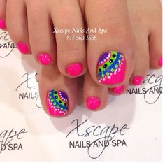 Ideas for pedicure designs toenails nailart polka dots Get Nails, Fancy Nails, Love Nails, How To Do Nails, Pretty Nails, Pretty Toes, Gel Zehen, Toenail Art Designs, Toe Designs
