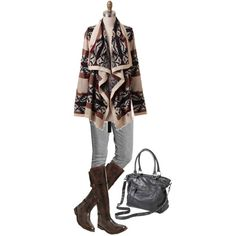 Ootd - Cozy Aztec Cardigan, gray jeans and boots outfit for Fall