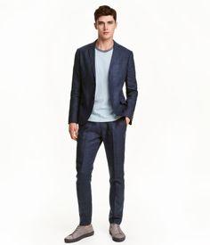 Linen-blend Suit Pants | Dark blue | Men | H&M US