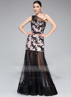 Trumpet Mermaid One-Shoulder Floor-Length Tulle Charmeuse Prom Dress With  Ruffle Appliques 14eeed61ecdf