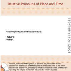 Pronouns are words used to avoid repetitions of a noun. Relative pronouns are used to introduce relative clauses. They refer to place and time by replacing the subject expressed in the main clause to avoid the repetition of it in the relative clauses.